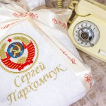 Халат в подарок с вышивкой герба СССР
