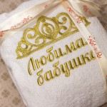 Вышивка на халате для любимой бабушки