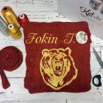 вышивка на халате с медведем